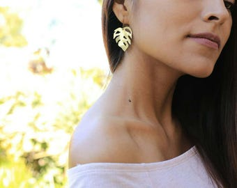 Mini Monstera Earrings | Full Brass Earrings | Brass Earrings | Monstera Plant | Leaf Earrings | Made-To-Order