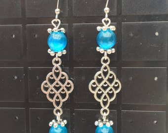 Mexican Blue Opal bead earrings