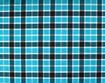 Blue PUL Fabric, Plaid Patterned Polyurethane Laminate, Waterproof Washable Fabric, FQ fat quarter Half Full Metre