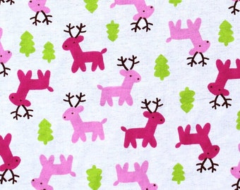 Pink Reindeers on Cream Flannel Brushed Cotton Winceyette 100% Cotton