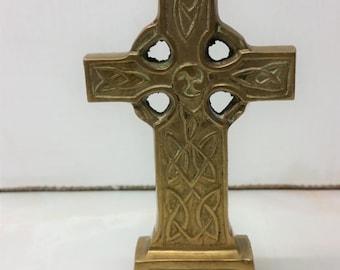 Vintage Solid Brass Celtic Cross Ireland free standing Ornament