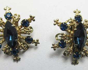 Eye-catching Vintage 1950s Gold Toned Dark Sapphire Blue Rhinestone Earrings
