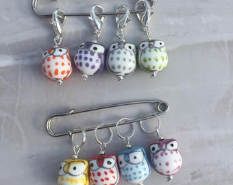 Owl Stitch Markers, stitch markers, knitting supplies, gift for knitter, snag free, craft supplies, crochet markers