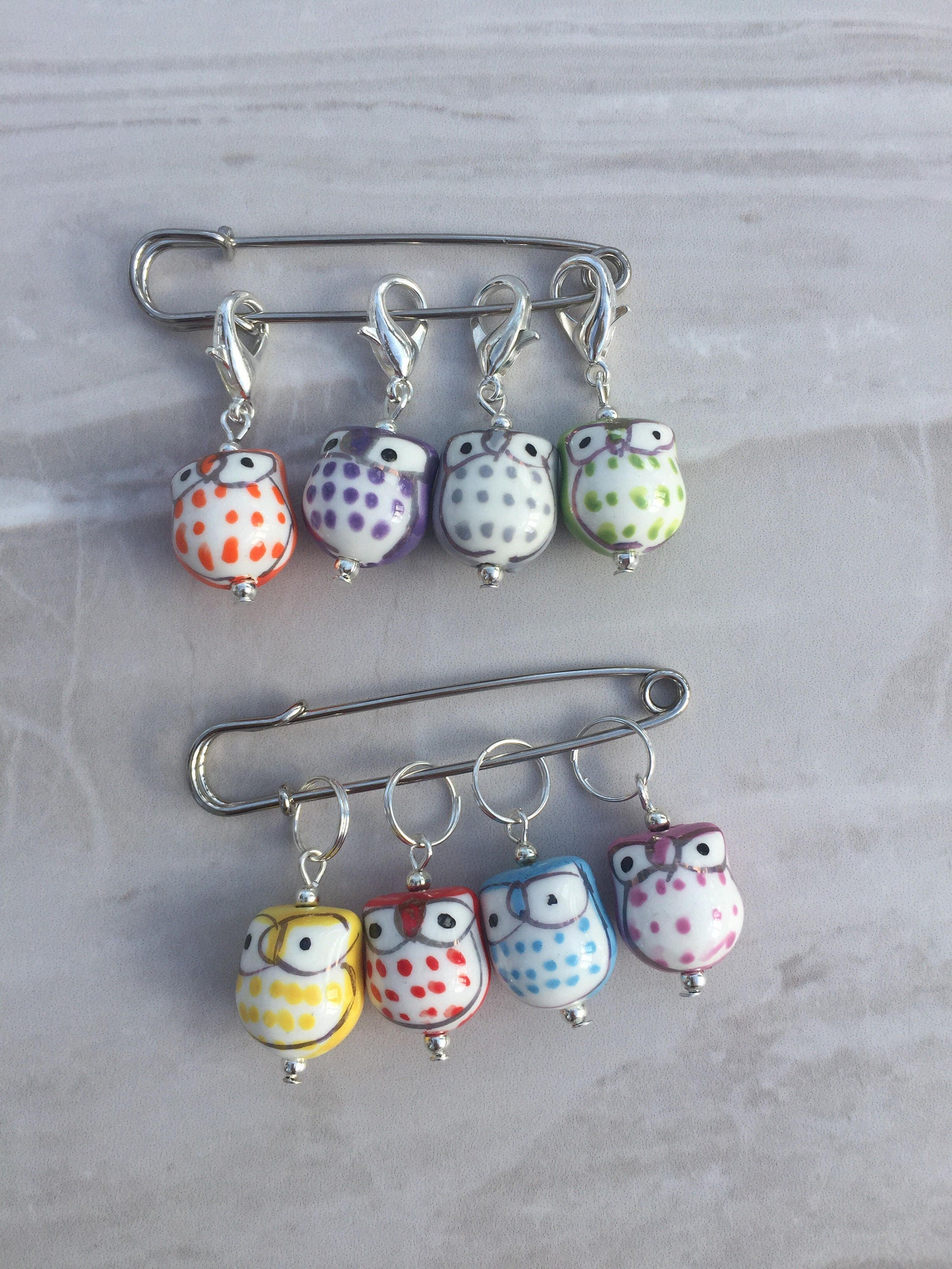 Knitting Markers Uk : Owl stitch markers knitting supplies gift