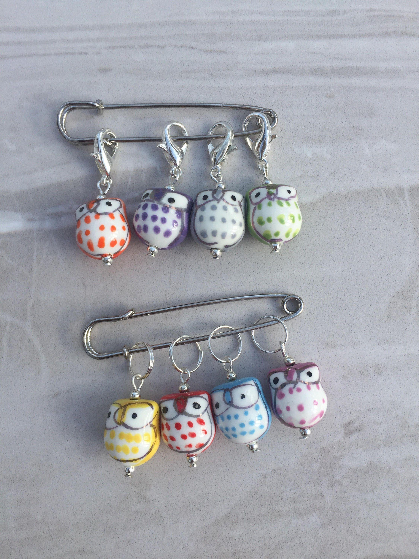 Knitting Markers Uk : Owl stitch markers knitting supplies gift