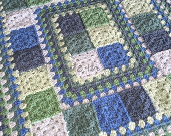 Crocheted Baby Blanket - 57cm x 63cm - Blues and Greens