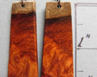 Amboyna Burl Long Dangle Earrings, Exotic Wood silver gold hypoallergenic handmade ExoticwoodJewelryAnd