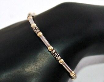 80's sterling & vermeil Byzantine Bali style stackable, understated elegant 925 silver barrels and gold wash balls tribal hippie bracelet
