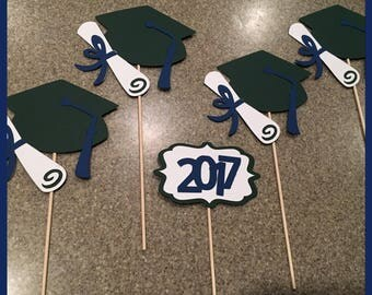 Graduation cap Centerpiece, graduation hat Centerpiece picks, gradution decor, graduation cap and diploma Centerpiece, blue and green Center