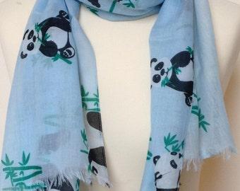 Panda scarf - women's panda print scarf - panda wrap - panda shawl - in 100% cotton