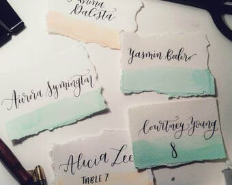Watercolour Calligraphy Place Cards - Wedding Seating Cards - Handwritten Placecards - Wedding Invitation - Deckled Edge