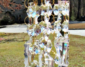 Brass Bobeche with 9 Strands of Crystal, DIY Wind Chime,  Make A Wind Chime,