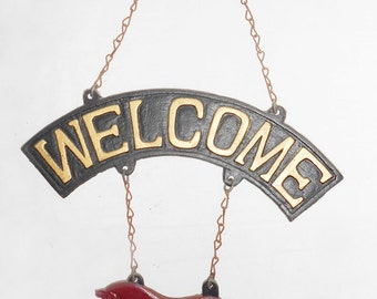 Cast Iron Welcome Sign Horse Cafe Restaurant Shop Home Decor