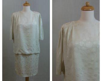 80s vintage dress. LIZ CLAIBORNE Silk dress. Beige color dress. Short sleeve dress. Size M - L.