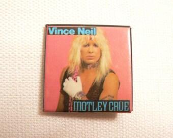 Vintage 80s Vince Neil - Motley Crue - Theatre of Pain Era - Pin / Button / Badge