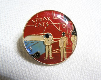Vintage 80s Stray Cats - Built for Speed Album (1982) - Enamel Pin / Button / Badge
