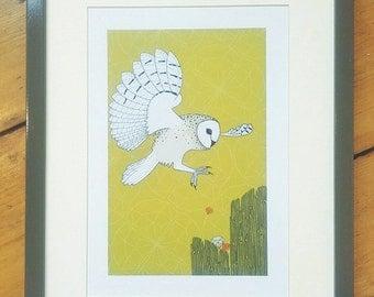 Barn owl & jewels A4 print