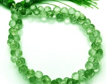 Natural 8 Inch Stands  Natural Super  Green Amethyst  Micro Faceted Onion  shape Beads  3 TO 6 MM Size