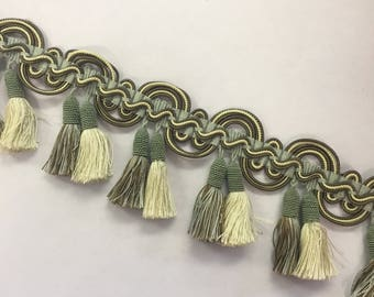 Scolloped Twin Tassel Fringe - Upholstery Fabric by The Yard