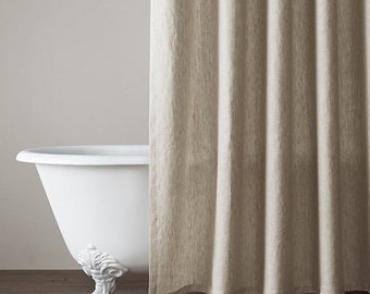 Pure Linen Natural Shower Curtain / 72x72 standard size/ bathroom decor/basic holes/seam to get the width
