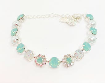 CRYSTAL SEA GREEN Swarovski Bracelet 8mm Chatons Daises Pearls Pacific Opal Crystal Tennis Bracelet Green Crystal Jewelery LynnsGemCreations