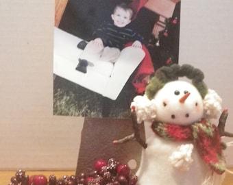 Old Hinge Christmas Photo Holder / Rustic Holiday Decor / Metal Hinge