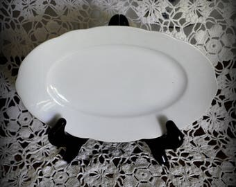 Antique Small Waldershof Bavaria Germany White Serving Plate, 8 x 5 1/4 in.