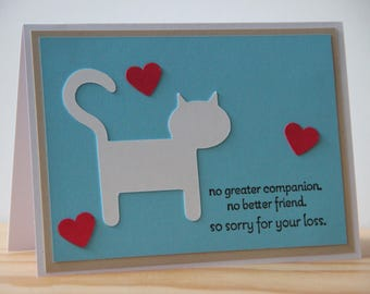 Cat Sympathy Card.  Pet Sympathy Card. Cat Companion.  So sorry for your loss.  Blank Cat Sympathy Card.  Pet Sympathy Greeting Card