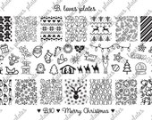 B.10 - Merry Christmas - nail stamping plates (B. Loves Plates )