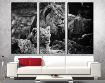 3 Panel Canvas Split, Black and white lion, lioness, canvas art, Giclee print ,Interior design, Room Decoration, Photo gift, wall art