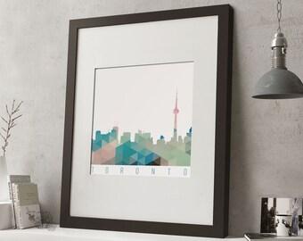 """FRAMED Geometric Toronto Print, 12""""x10"""" Black or White Frame, Modern Art"""