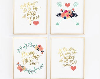 Navy and Coral Nursery, though she be but little, Let her sleep, Four Wall Prints,  Coral Navy and Gold Floral Nursery, Baby Girl (1621-4)