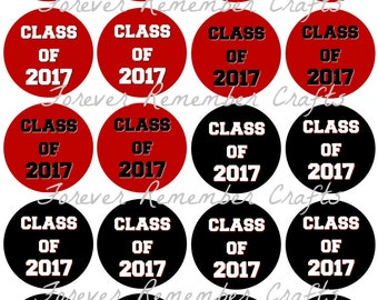 INSTANT DOWNLOAD Graduation Class Of 2017 Black Red & White 2 Inch Favor or Gift Tags