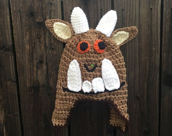 Toddler to Adult Beanie Crochet Hat -The Gruffalo with Horns and Ear Flaps