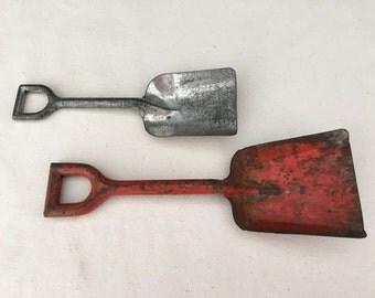 Toy Sand Shovel - Vintage 1950s Childs Toy - Metal Shovel - Beach Decor - Collectible - Display - Red Shovel - Silver Shovel - Prop