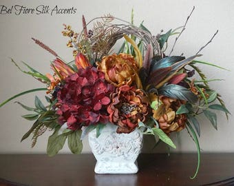 Tuscan Rustic Red Hydrangea, Lilly, Burnt Orange Peonies with Feathers Old World Style Floral Arrangement Centerpiece