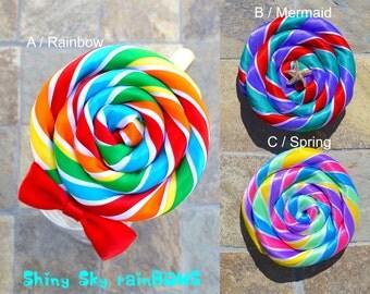 1 Lollipop Hair Bow, Mermaid Candy, Rainbow Hair Bow, Ariel Hair Bow, Lollipop Hair Clip, Rainbow Lollipop, Candy Hair Clip, Ariel Hair Clip