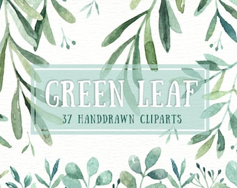 Green Leaf Watercolor clipart, watercolor flower, Watercolour Leaves, Leaf clipart, Wedding Clip Art, wedding invitation, wreath, green