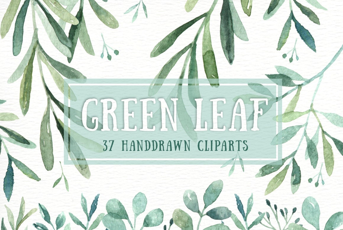 Green Leaf Watercolor Clipart Watercolor Flower