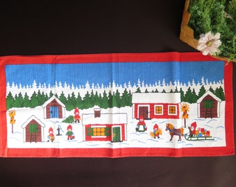 Vintage Scandinavian Christmas Decor Winter Scene Gnomes Woodland Swedish Retro Wall Decor Printed Fabric #3-10