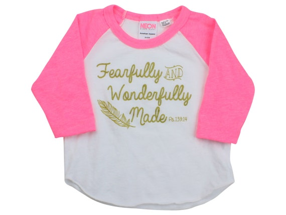 Fearfully And Wonderfully Made Gold Pink Raglan Shirt Scripture Inspired Shirt Psalms 139:14 Raglan Scripture Shirt Feather Shirt