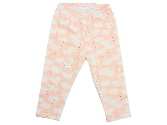 ORGANIC Swan Baby Leggings Pink Swan Toddler Leggings Girly Leggings Peach Swan Leggings Girl Baby Pants Baby Gift Organic Swan Leggings