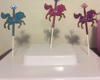 12 glitter carousel horse pink purple and blue cupcake topper
