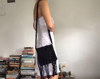Crochet Rope Black Bag