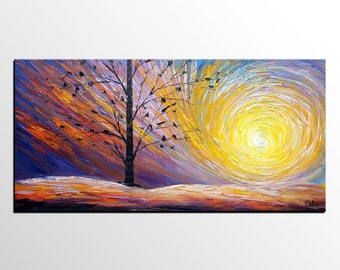 Large Art Painting , Landscape Painting, Canvas Art, Rustic Wall Art, Large Painting, Original Art, Canvas Painting, Living Room Wall Art