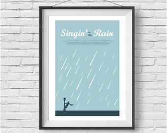 Singin' in the Rain Movie Poster- Minimalist, Mid Century