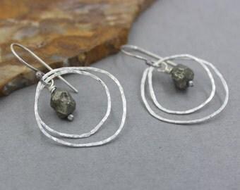 Pyrite Nugget Earrings, Silver Hoop Earrings, Sterling Silver Ear Wires, Hammered Silver Drop Earrings Raw Silver, Multi Hoop  Earrings