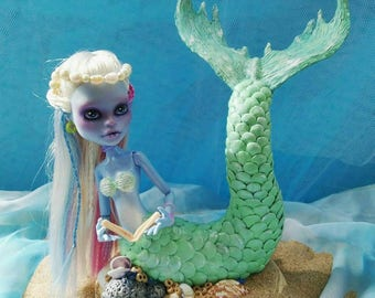 Hand crafted OOAK Mermaid Figure Monster High Doll Abbey Faceup Repaint Remodel Sculpture
