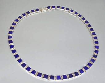 Stunning necklace of Lapis Lazuli and Sterling silver inlay work - gift idea for holiday season