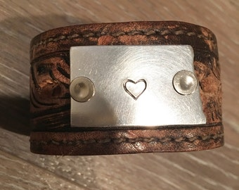 The ND love handstamped Leather Cuff